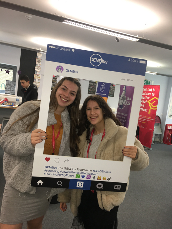 Jnetics_Students at Yavneh College sharing on social media about the GENEius screening programme