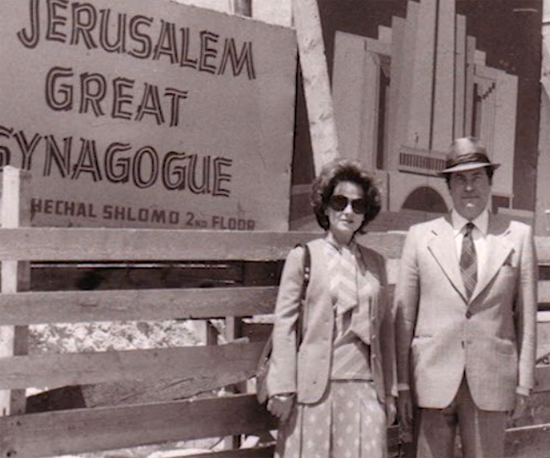 Maurice and Vivienne visiting the site during construction of the Jerusalem Great Synagogue