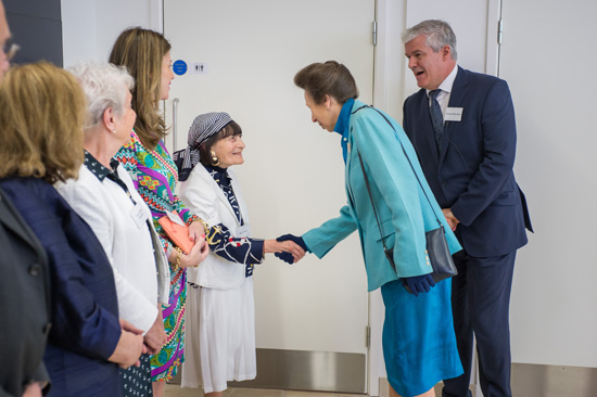Mrs Ella Latchman & HRH Princess Anne at opening of The Maurice Wohl Clinical Neuroscience Institute London