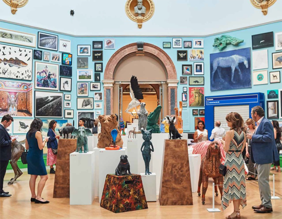 Installation view of the Summer Exhibition 2019, artworks displayed in the Wohl Central Hall