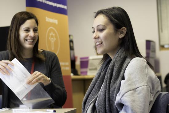 Jnetics_Genetic counsellor with JFS student at GENEius school screening event